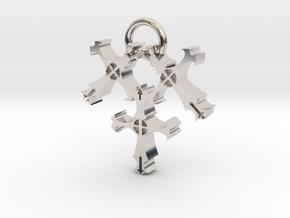 Triple Cross in Rhodium Plated Brass