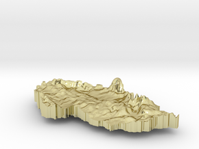 Czech Republic Terrain Silver Pendant in 18K Gold Plated