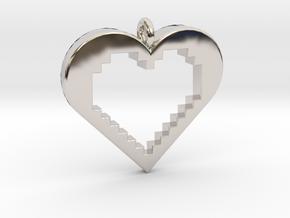 Pixel Heart in Rhodium Plated Brass