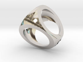 Mini D4 Shell Dice Pendant in Rhodium Plated Brass