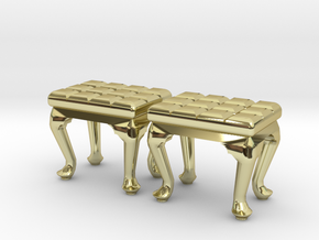 1:48 Tufted Vanity Stool in 18K Gold Plated