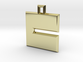 ABC Pendant - C Type - Solid - 24x24x3 mm in 18K Gold Plated