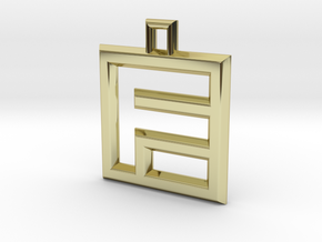 ABC Pendant - F Type - Wire - 24x24x3 mm in 18K Gold Plated