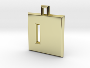 ABC Pendant - D Type - Solid - 24x24x3 mm in 18K Gold Plated