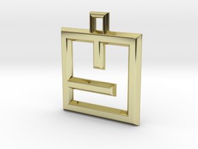 ABC Pendant - Y Type - Wire - 24x24x3 mm in 18K Gold Plated