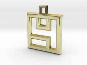 ABC Pendant - 4 Type - Wire - 24x24x3 mm in 18K Gold Plated