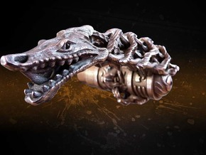 Dragon doorhandle 006 for left hinged doors in Polished Bronzed Silver Steel
