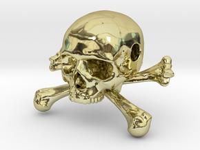 35mm 1.4in Bead Skull & Bones Pendant Crane in 18K Gold Plated