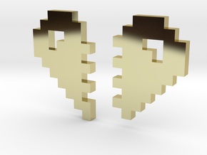 2 Halfs of an 8 Bit Heart (Pixel Heart) in 18K Gold Plated