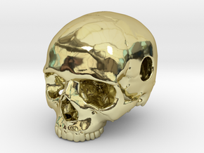 20mm .8in Keychain Bead Human Skull in 18K Gold Plated