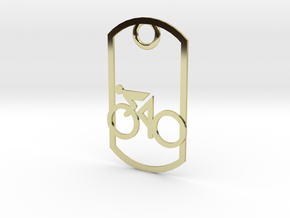 Cyclist - racing - dog tag in 18K Gold Plated
