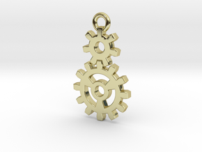 2 Gear Steampunk Pendant in 18K Gold Plated