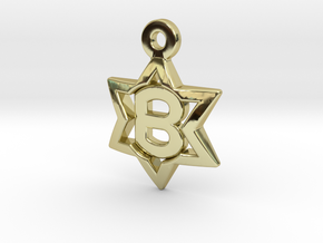Jewish Star Pendant - B in 18K Gold Plated
