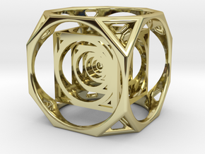 3D Cube paperweight  in 18K Gold Plated
