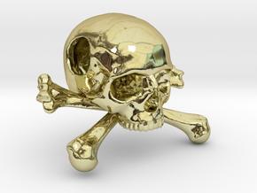 25mm 1in Bead Skull & Bones Pendant Crane in 18K Gold Plated
