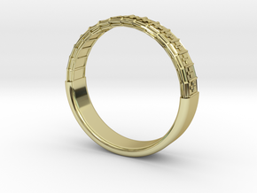 Atom Array Ring Detailed Half in 18K Gold Plated
