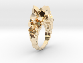 Crystal Ring size 9 in 14k Gold Plated Brass