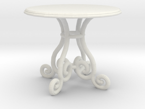 1:48 Fancy Rod Iron Table in White Natural Versatile Plastic