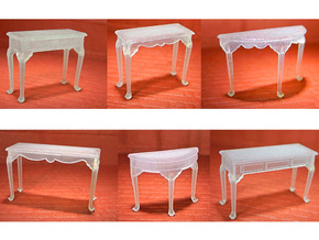1:48 Queen Anne Table Set in Frosted Ultra Detail