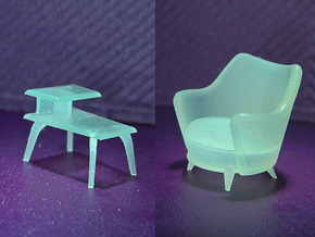 1:48 Moderne Tub Chair Set in Smooth Fine Detail Plastic