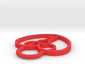 CHD Heart Lock Pendant in Red Processed Versatile Plastic