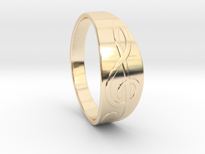 Size 10 M G-Clef Ring  in 14k Gold Plated Brass