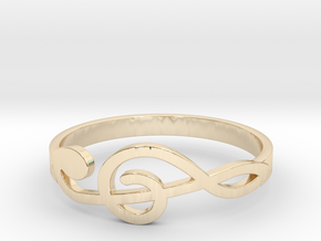 Size 10 G-Clef Ring  in 14k Gold Plated Brass