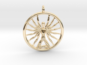 Multiarm Deity Pendant in 14k Gold Plated Brass