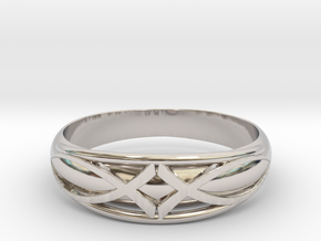 Size 8 L Ring  in Rhodium Plated Brass