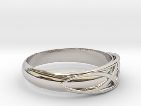 Size 9 L Ring  in Rhodium Plated Brass