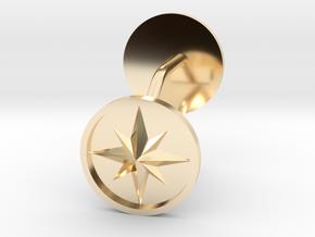 Compass cufflinks in 14k Gold Plated Brass