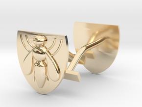 Bee (industry) cufflinks in 14k Gold Plated Brass