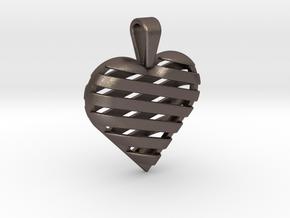 Striped heart pendant in Polished Bronzed Silver Steel