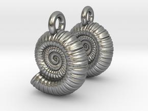 Ammonite Earings (pair) in Natural Silver