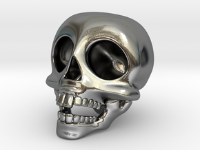 Skull Keychain in Polished Silver