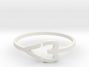 I heart Ring in White Natural Versatile Plastic: 7.5 / 55.5