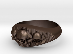 Cutaway Ring With Skulls Sz 7 in Matte Bronze Steel