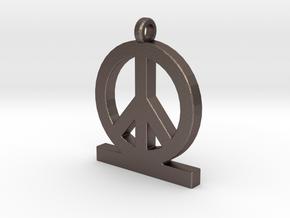 Peace Pendant Women in Polished Bronzed Silver Steel