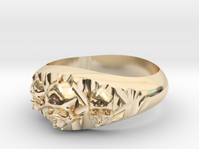Cutaway Ring With Skulls Sz 9 in 14k Gold Plated Brass