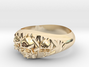 Cutaway Ring With Skulls Sz 10 in 14k Gold Plated Brass