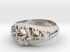Cutaway Ring With Skulls Sz 12 in Rhodium Plated Brass