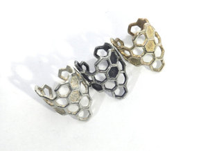 Honeycomb Ring in Natural Silver