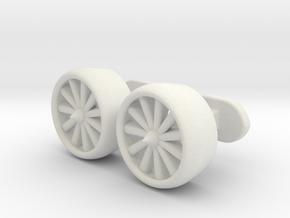 Jet Engine cufflinks in White Natural Versatile Plastic