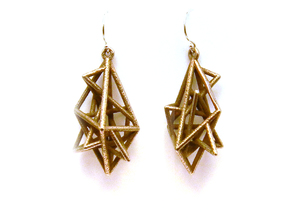 Urban Complexity Earrings in Polished Bronzed Silver Steel