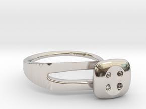 Button Ring Modern in Rhodium Plated Brass