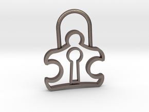 Autism Lock Pendant in Polished Bronzed Silver Steel