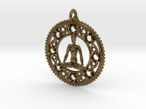 Centered In Meditation Pendant in Natural Bronze