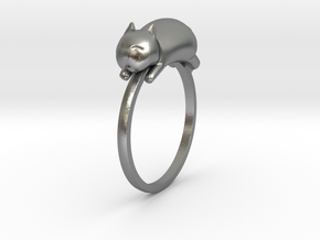 Happy Cat Ring in Natural Silver: 7 / 54