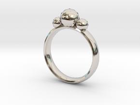 GeoJewel Ring UK Size Q US Size 8 in Rhodium Plated Brass