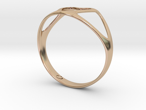 Open Heart Ring in 14k Rose Gold Plated Brass
